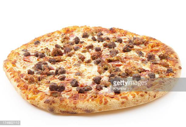 meat lovers pizza #3 - sausage stock pictures, royalty-free photos & images