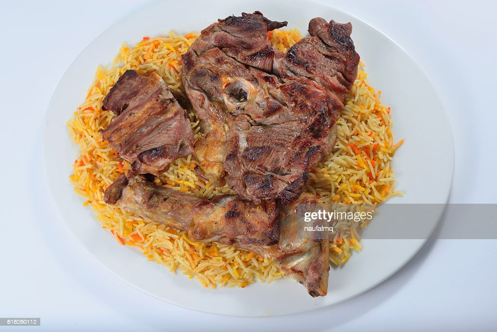Meat madfoon or madhfoon traditional arabic rice food : Foto de stock
