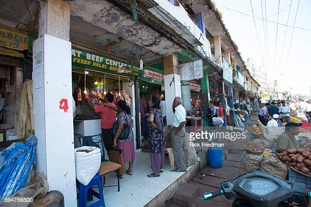 Meat market at Mapusa Bardez marketplace in Goa India on December 1 2014