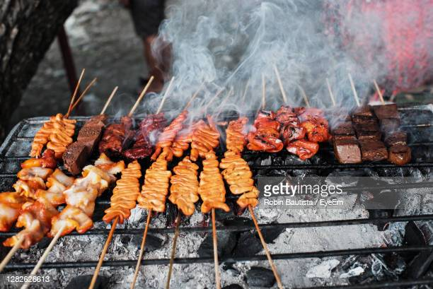 meat on barbecue grill - tikka masala stock pictures, royalty-free photos & images