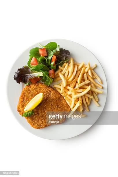 Fleisch:  Schnitzel und Pommes Frites und Salat