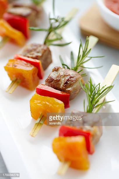 Meat shish kebabs for starter