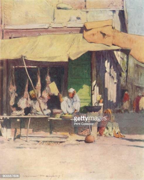 'A Meat Shop in Peshawur' 1905 From India by Mortimer Menpes Text by Flora A Steel [Adam Charles Black London 1905] Artist Mortimer Luddington Menpes