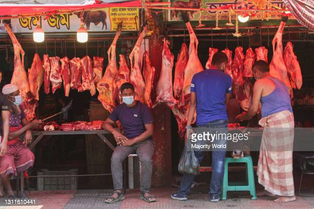 Meat shop in Rikabi Bazar. A nationwide lockdown been imposed for 7 days. Sylhet, Bangladesh.