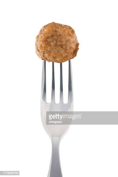 Meatball and fork