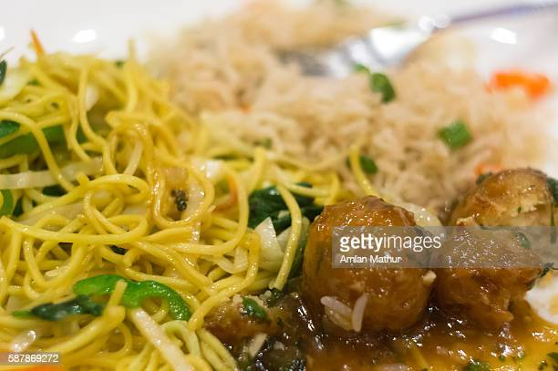 meatballs and noodles with rice