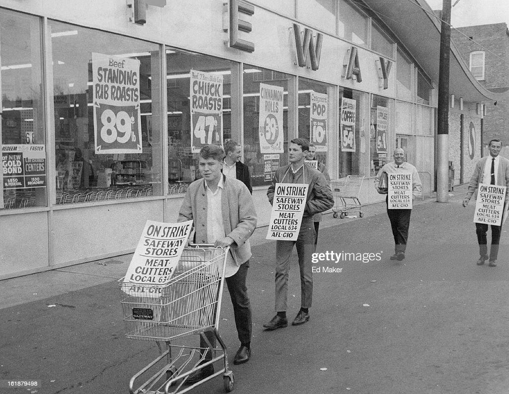 NOV 16 1967; Meatcutters Strike Safeway Briefly; Kenney Allen, journeyman meatcutter, leads a parade : News Photo