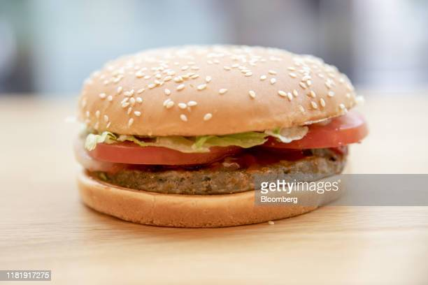 A meatfree Rebel Whooper burger sits on a counter at a Burger King Holdings Inc fastfood restaurant in Milan Italy on Tuesday Nov 12 2019 Burger King...