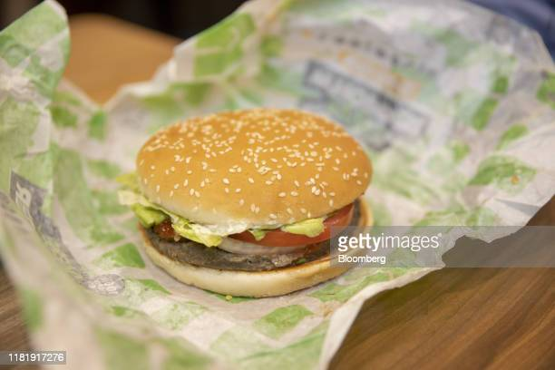 A meatfree Rebel Whooper burger sits on a tray at a Burger King Holdings Inc fastfood restaurant in Milan Italy on Tuesday Nov 12 2019 Burger King...