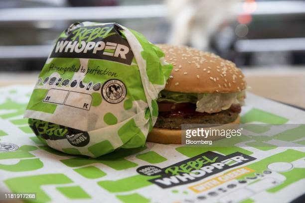Meatfree Rebel Whooper burgers sit on a tray at a Burger King Holdings Inc fastfood restaurant in Milan Italy on Tuesday Nov 12 2019 Burger King...