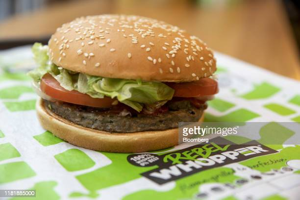 A meatfree Rebel Whooper sits on a tray at a Burger King Holdings Inc fastfood restaurant in Milan Italy on Tuesday Nov 12 2019 Burger King started...