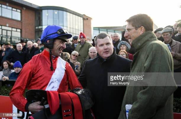Meath Ireland 1 December 2019 Jockey Davy Russell left speaks with trainer Gordon Elliott and representative owner Chris Hitchens after sending out...