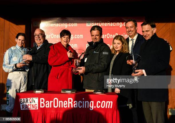 Meath Ireland 1 December 2019 Trainer Gordon Eliott right representative owner Kenneth Alexander centre and jockey Rachael Blackmore left with...