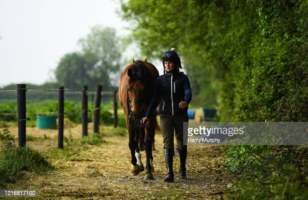 Meath Ireland 1 June 2020 Work Rider Katie Young with Brawny at the yard of horse racing trainer Gordon Elliott in Longwood in Meath Horse racing is...