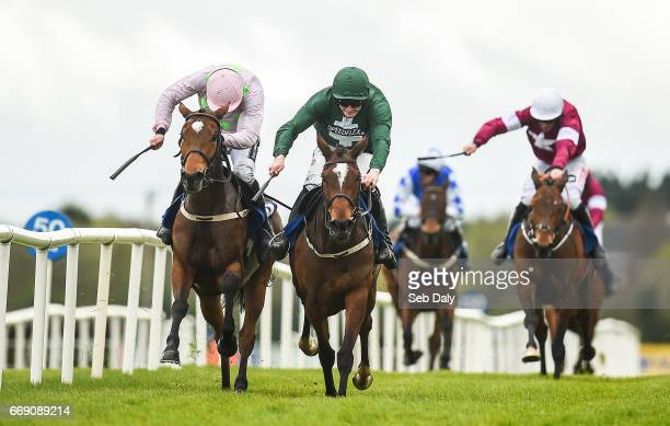 Meath Ireland 16 April 2017 Augusta Kate right with David Mullins up races Let's Dance with Ruby Walsh up to the line on their way to winning the...