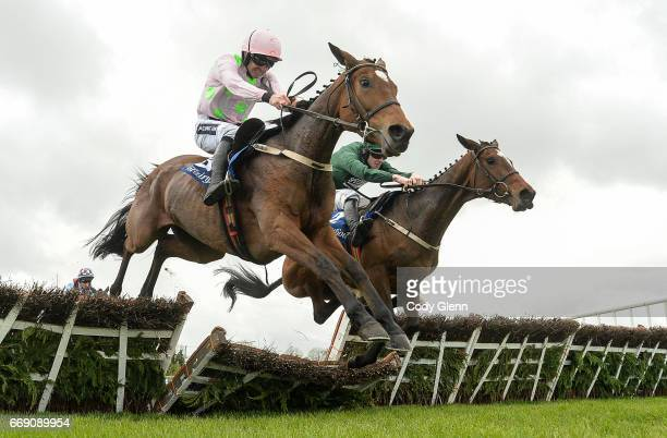 Meath Ireland 16 April 2017 Augusta Kate right with David Mullins up jump the last alongside Let's Dance with Ruby Walsh up who finished second on...
