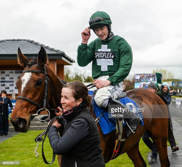 Meath Ireland 16 April 2017 David Mullins acknowledges the crowd as he enters the winners' enclosure after winning the Irish Stallion Farms European...