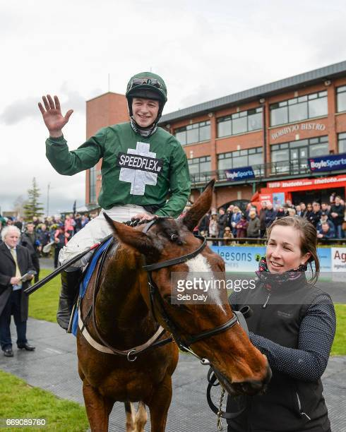 Meath Ireland 16 April 2017 David Mullins celebrates as he enters the winners' enclosure after winning the Irish Stallion Farms European Breeders...