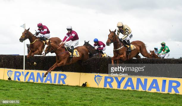 Meath Ireland 16 April 2017 Eventual winner Road To Respect far left with Bryan Cooper up jump the fourth on their first time round alongside...