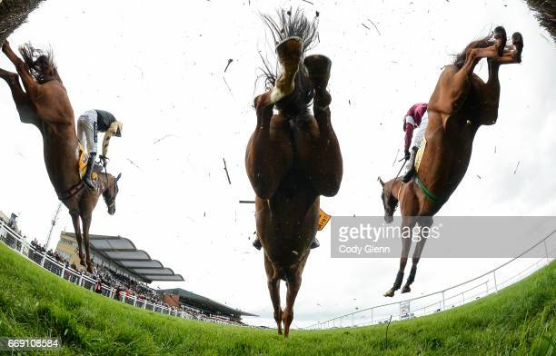 Meath Ireland 16 April 2017 Eventual winner Road To Respect right with Bryan Cooper up jump the fourth on their first time round alongside Yorkhill...