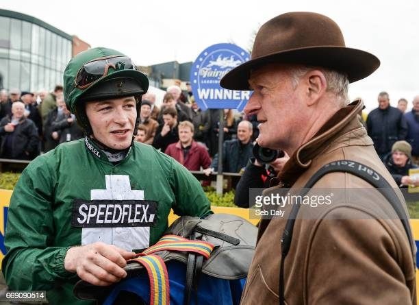 Meath Ireland 16 April 2017 Jockey David Mullins left and trainer Willie Mullins right after winning the Irish Stallion Farms European Breeders Fund...