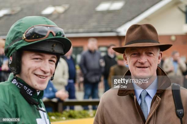 Meath Ireland 16 April 2017 Trainer Willie Mullins right and jockey David Mullins left after winning the Irish Stallion Farms European Breeders Fund...