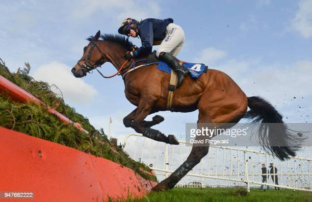 Meath Ireland 17 April 2018 Artic Pearl with Liz Lalor jump the last during The Ratoath Pharmacy Ladies National Handicap Steeplechase on Handicap...