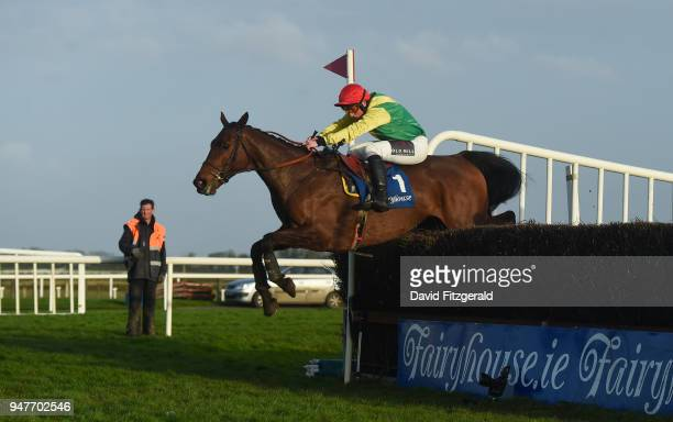 Meath Ireland 17 April 2018 Sizing Coal with Jamie Codd up jump the last on their way to winning The Door And Floor Centre Supporting Meath GAA...