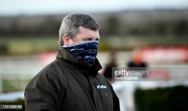 Meath , Ireland - 21 February 2021; Trainer Gordon Elliott in attendance at Navan Racecourse in Meath.