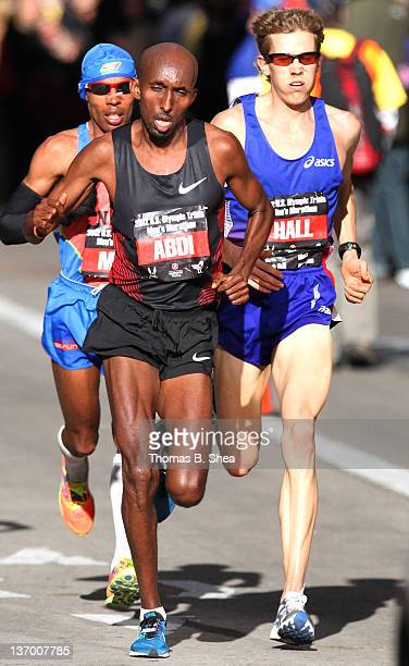 Meb Keflezighi Abdi Abdirahman and Ryan Hall compete in the US Marathon Olympic Trials January 14 2012 in Houston Texas