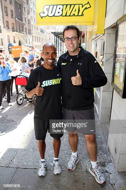 Meb Keflezighi and Jared Fogle train for the ING New York City Marathon at Subway Restaurant on September 21 2010 in New York City