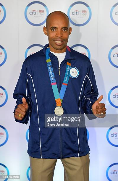 Meb Keflezighi attends the Citi Every Step of the Way San Francisco event with twotime Olympian Meb Keflezighi on May 18 2012 in San Francisco...