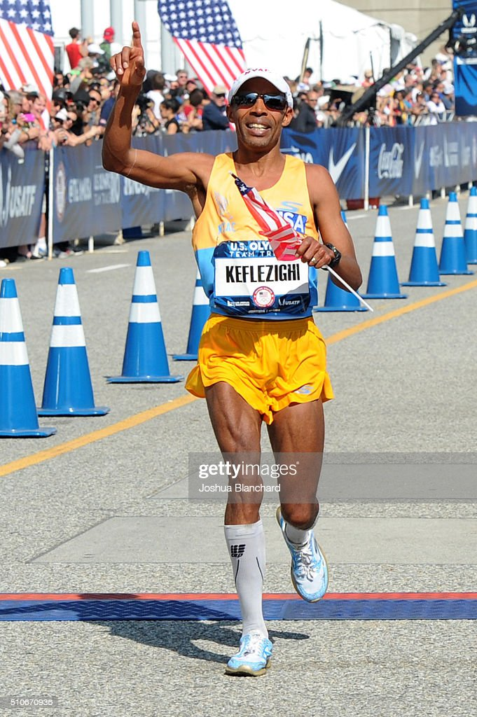 Meb Keflezighi celebrates second place at the U.S. Olympic Team Trials Mens Marathon on February 13, 2016 in Los Angeles, California.