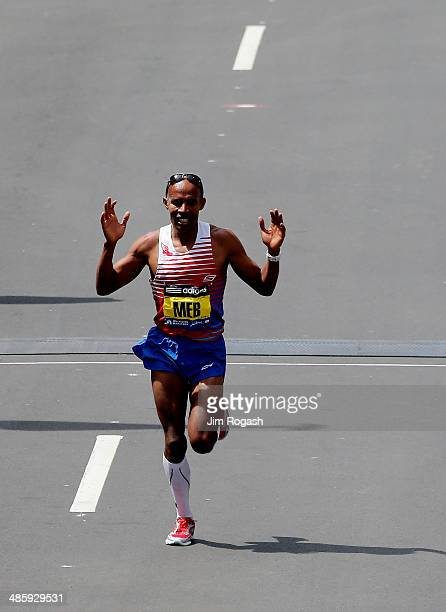 Meb Keflezighi of the United States approaches the finish line to win the 118th Boston Marathon on April 21 2014 in Boston Massachusetts
