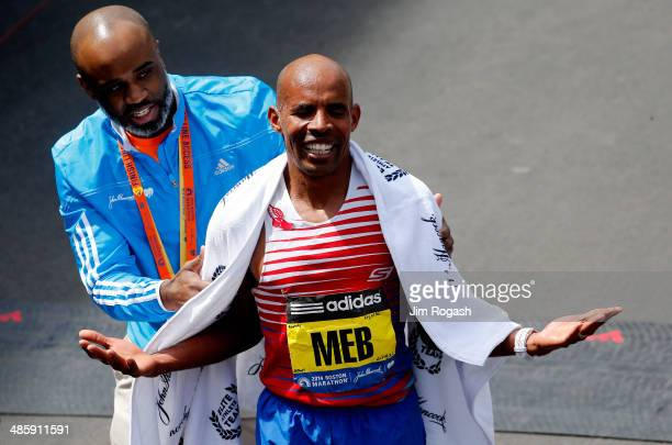 Meb Keflezighi of the United States celebrates after winning the 118th Boston Marathon on April 21 2014 in Boston Massachusetts