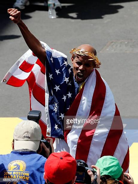 Meb Keflezighi of the United States celebrates after winning the 118th Boston Marathon on April 21, 2014 in Boston, Massachusetts.