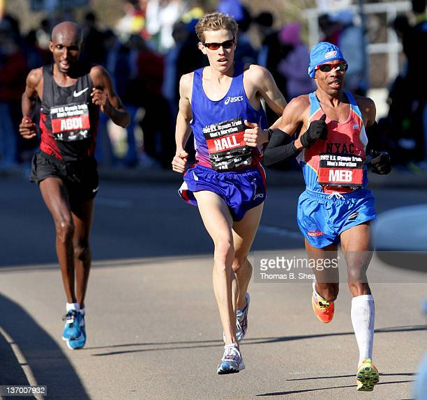 Meb Keflezighi Ryan Hall and Abdi Abdirahman compete in the US Marathon Olympic Trials January 14 2012 in Houston Texas