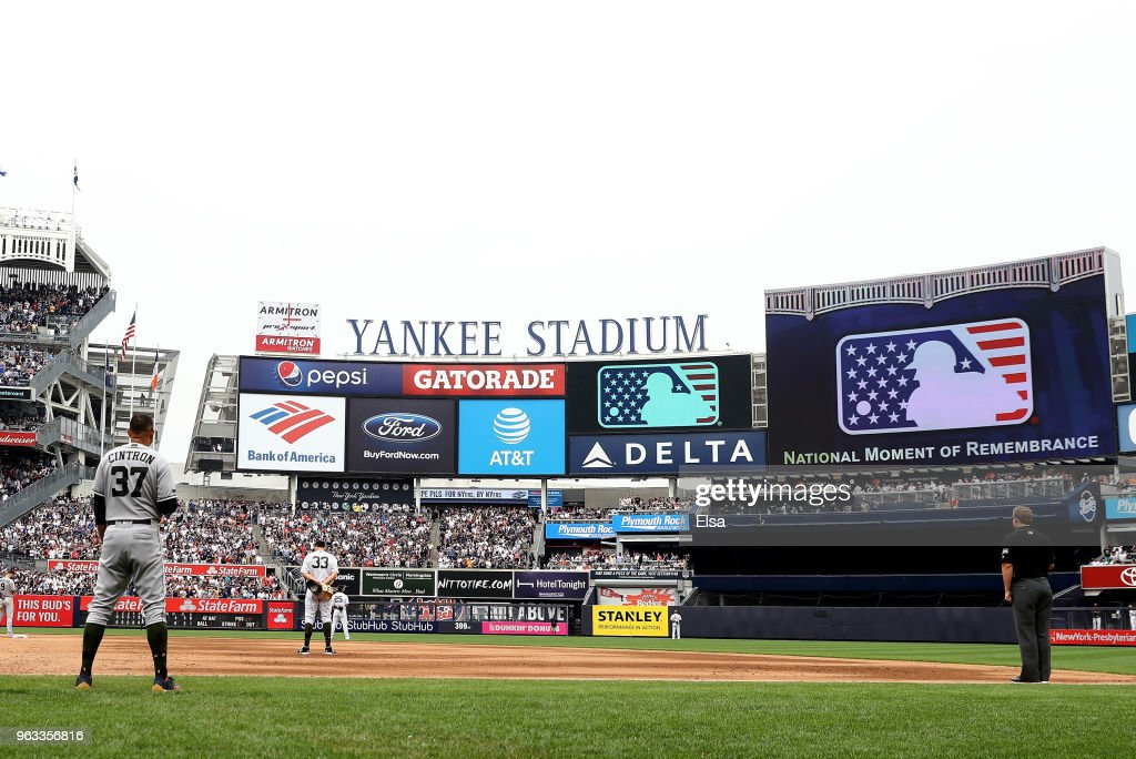 Mebers of the Houston Astros and the New York Yankees stand for a moment of silence in the sixth inning at Yankee Stadium on May 28, 2018 in the Bronx borough of New York City.MLB players across the league are wearing special uniforms to commemorate Memorial Day.Major League Baseball observed the National Day of Remembrance at 3 P.M. at all stadiums today.