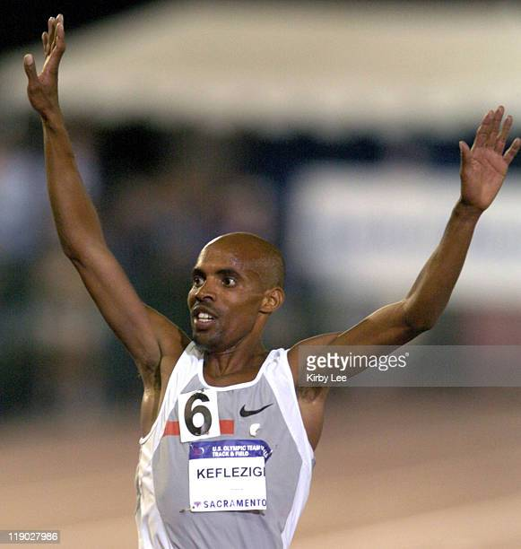 Mebrahtom Keflizighi wins men's 10000 meters in a meet record 273649 in the 2004 US Olympic Track Field Trials at Cal State Sacramento's Hornet...
