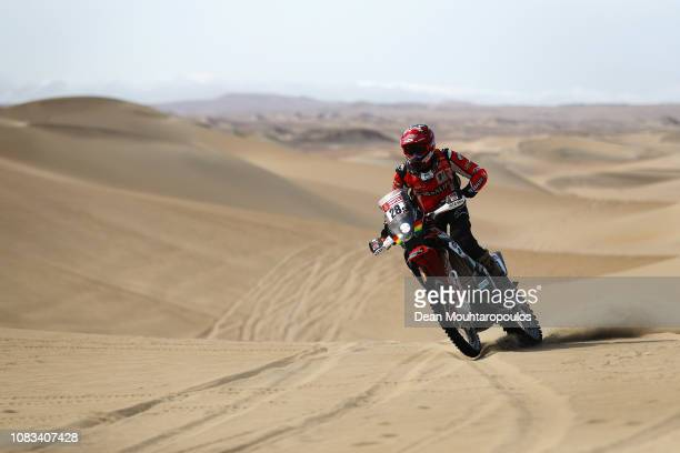 Mec Hrc No. 28 Motorbike ridden by Daniel Nosiglia Jager of Bolivia competes in the sand, desert and dunes during Stage Nine of the 2019 Dakar Rally...