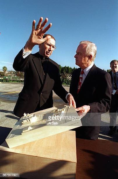 MECathedral#1AS12–23–96F Downtown Los Angeles Los Angeles Roman Catholic archdiocese Cardinal Mahony describes to Los Angeles mayor Richard Riordan...