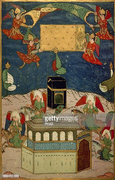 Mecca Angels decorating the Kaba at the birth of prophet Muhammad Miniature Book of Sufti Abdullah master painter at the court of the Sultan Murad...