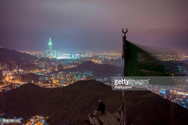 mecca city view from hira cave at night. - shaifulzamri foto e immagini stock