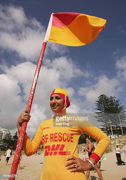 Mecca Laa Laa wears a 'Burqini' on her first surf lifesaving patrol at North Cronulla Beach February 4, 2007 in Sydney, Australia. The red and yellow...