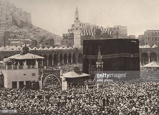 Mecca or Makkah Interior of alMasjid alHaram Pilgrims around the Ka'bah In 1893