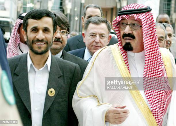 King Abdullah bin Abdul Aziz Lebanese Prime Minister Fouad Siniora and Iranian President Mahmoud Ahmadinejad circumambulate around the Kaaba on the...