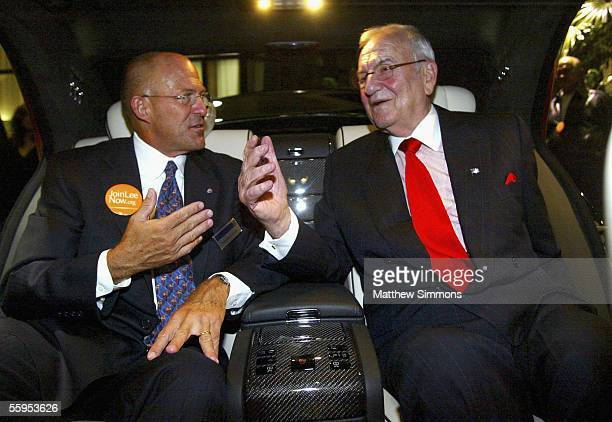 MecedesBenz of Beverly Hills General Manager Steve Smythe and Chrysler Chairman Lee Iacocca attend the unveiling of the new Mercedes Benz Maybach 57S...