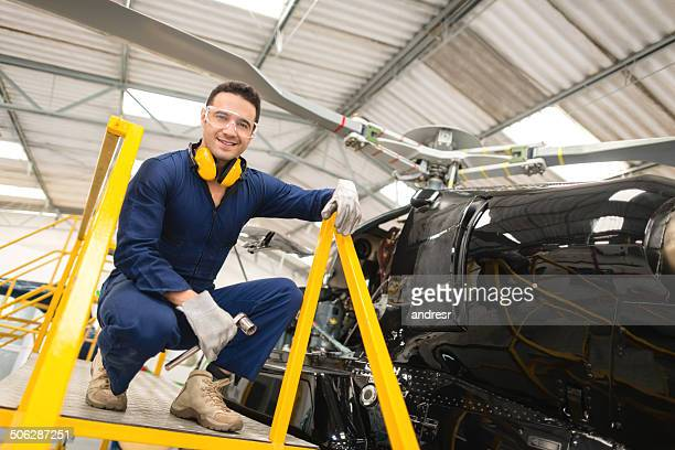 Mechanic fixing a chopper