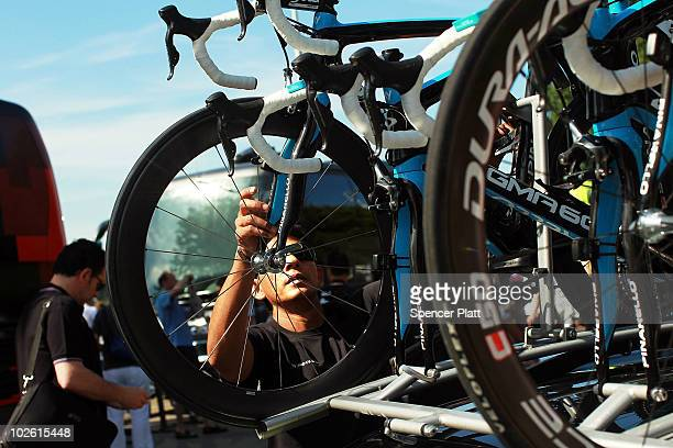 A mechanic for team Sky inspects the bikes before stage one of the Tour de France July 4 2010 in Rotterdam Netherlands The stage will take the riders...