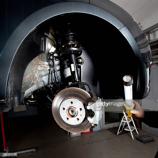 Mechanic is checking the disc brakes of a modern car